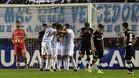 Luis Rodriguez celebra con sus compañeros el gol de la victoria