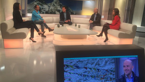 Sergi Mingote y Ferran Latorre, en una tertulia televisiva sobre el Everest