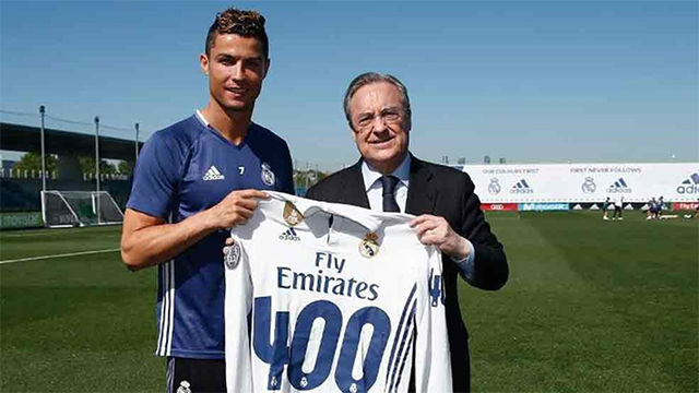 Florentino homenajeó a Cristiano Ronaldo