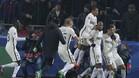 Los jugadores del M�naco se abrazan tras el salvador gol de Bernardo Silva