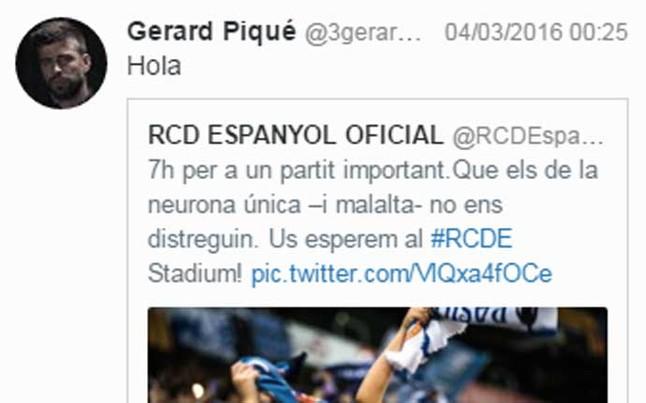Gerard Piqu� contesta al Espanyol en las redes sociales