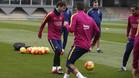 Leo Messi vuelve a entrenarse con el grupo para el Bar�a - Celta
