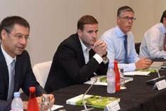 El presidente Bartomeu, durante la reuni�n de la ECA en M�naco