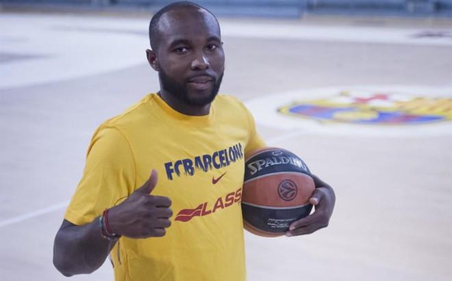 Tyrese Rice, con la camiseta del Bar�a Lassa en el Palau