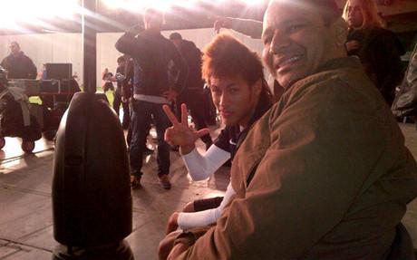 Neymar colgó una foto durante el rodaje en Barcelona