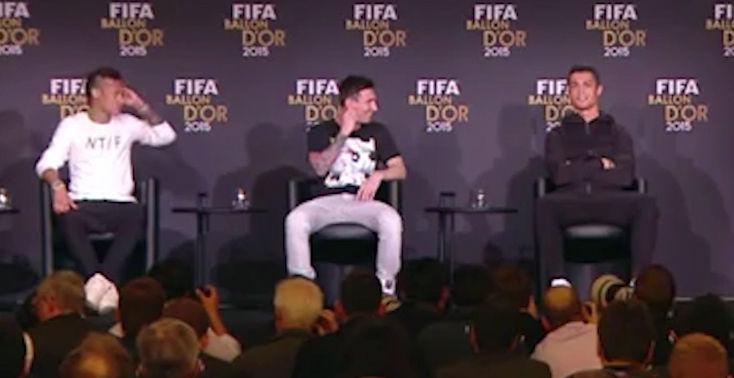 Messi, Cristiano y Neymar, de la tensi�n a las risas