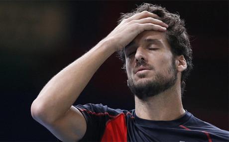 Feliciano L�pez, lamentando un error durante el partido contra Berdych