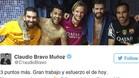 Uno de los tweets de los jugadores del Bar�a tras el partido contra el Levante