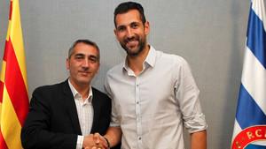 Diego López, junto a Ramón Robert, consejero delegado del Espanyol