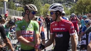Nibali y Contador, en la salida de la quinta etapa de la Vuelta