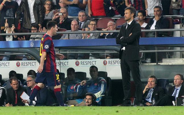 Luis Enrique, molesto por la ausencia de Messi