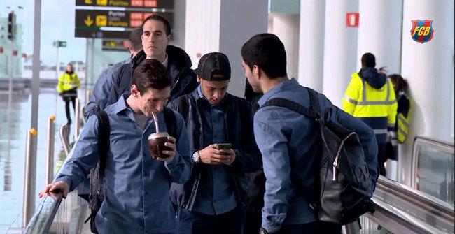 Luis Suárez y Messi tomaron mate de camino a Madrid
