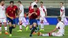 Mikel Merino celebra el primer gol de España Sub21, que suponía el empate