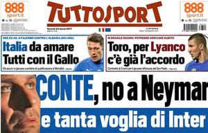 La portada de Tuttosport en la que recogen el interés del Inter en Conte y de Abramovich en Neymar