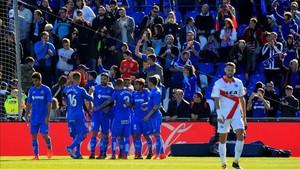El Getafe celebró cuatro goles ante un rival sin opciones