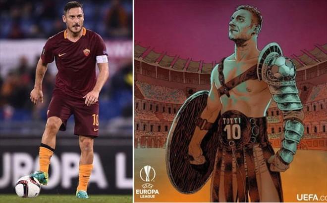 Dibujo de la UEFA en honor a los 100 partidos europeos de Totti.