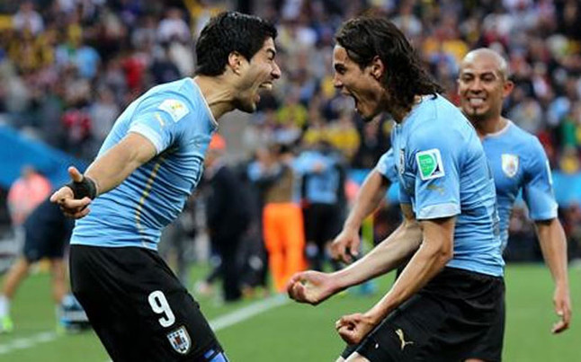 Photo of Edinson Cavani & his friend football player  Luis Suarez - work