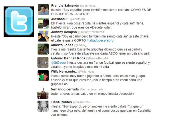 Twitter se 'ceba' con Iniesta tras mostrar su sentimiento catal�n