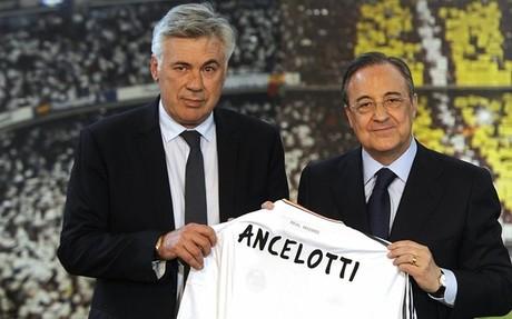 Carlos Ancelotti y Florentino P�rez durante la presentaci�n del italiano como t�cnico del Real Madrid