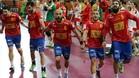Celebración de los 'Hispanos' tras eliminar a Dinamarca en cuartos en el Mundial de Catar 2015