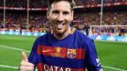 Leo Messi, feliz y cansado tras el partido