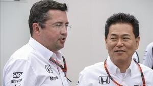 Eric Boullier, junto a Hasegawa, máximo responsable de Honda