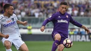 Cristian Tello, en un partido de la Fiorentina contra el Empoli esta temporada