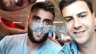 David López, posando junto a dos aficionados en el aeropuerto de Nápoles