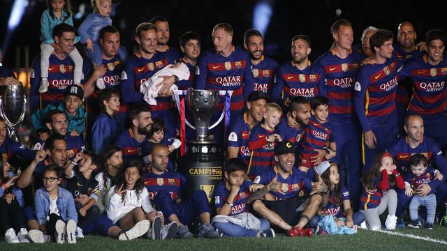 La fiesta del Doblete en el Camp Nou