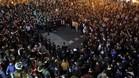 Imagen de las protestas en Mestalla tras la derrota del Valencia en la Copa frente al Celta