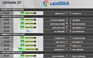 La 23ª jornada de la Liga BBVA ya tiene horarios