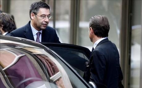 Josep Maria Bartomeu, a su llegada a la Audiencia