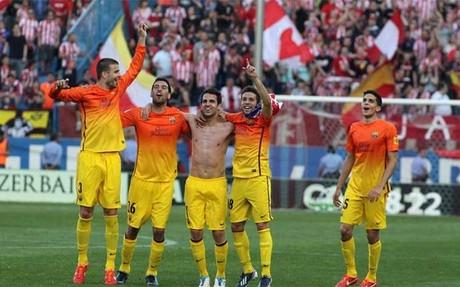Algunos jugadores del Barça ya empezaron a celebrar el título