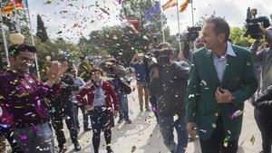 Sergio García fue aclamado a su llegada al Club de Campo del Mediterraneo