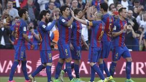 Los jugadores del Barça han celebrado más puntos que los del Real Madrid