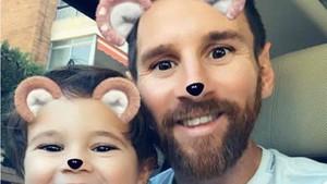 Messi, junto a su hijo Mateo