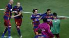 GRA402. MADRID, 22/05/2016.- El delantero brasile�o del FC Barcelona Neymar (2-d) celebra con sus compa�eros tras marcar el segundo gol ante el Sevilla, durante la final de la Copa del Rey disputada esta noche en el estadio Vicente Calder�n, en Madrid. EFE/Chema Moya
