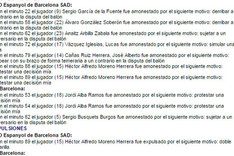 Esta es el acta del Espanyol-Bar�a