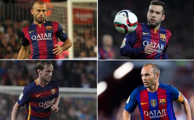 Javier Mascherano, Jordi Alba, Ivan Rakitic y Andr�s Iniesta