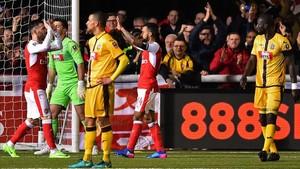 Walcott celebra el 0-2 con el que el Arsenal sentenció su victoria