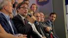 Agustí Benedito durante la presentación de su precandidatura a las elecciones del FC Barcelona 2015