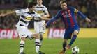 Leo Messi, en una acción del partido entre el FC Barcelona y el Borussia Mönchengladbach, el que más pases ha registrado en Champions League hasta la fecha