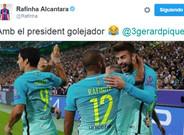 El mensaje de Rafinha a Piqu� bromeando sobre el gol de Gerard en Moenchengladbach