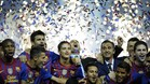 Barcelona\'s coach Josep Guardiola (C) celebrates his team\'s victory over Athletic Bilbao during their Spanish King\'s Cup final football match at the Vicente Calderon stadium, in Madrid, on May 25, 2012. Barcelona defeated Athletic Bilbao 3-0. AFP PHOTO/ RAFA RIVAS