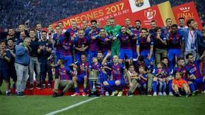 El Barcelona celebró el título de campeón de la Copa del Rey