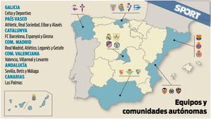 Esta es la distribución geográfica de los 20 equipos de la Liga Santander