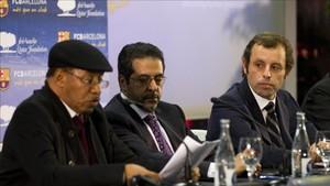 Sandro Rosell, en la presentación de Qatar Foundation