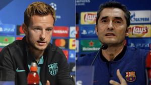 Ivan Rakitic y Ernesto Valverde, centrocampista y entrenador del FC Barcelona, respectivamente