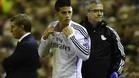 James Rodríguez durante el duelo entre el Liverpool y el Real Madrid