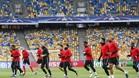 Los jugadores del Benfica se ejercitan en el Ol�mpico de Kiev